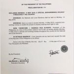 President Duterte declares Election Day, May 13 a non-working holiday nationwide.