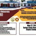 College Admission Test (CAT)  for Tarlac State University Capas Campus is extended